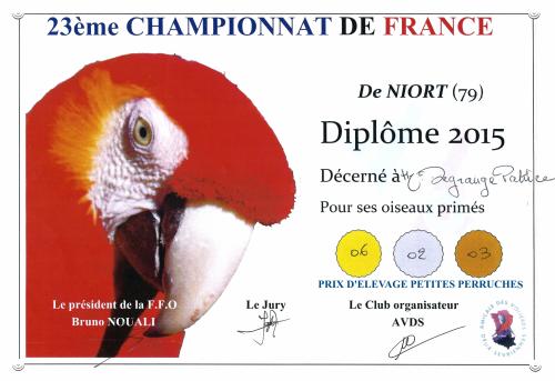 Diplome campionnat de france 2015